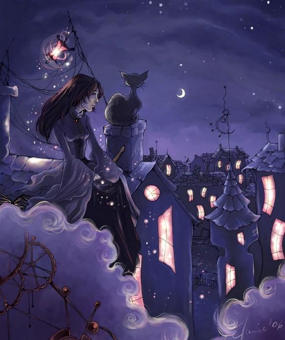 Картинки женщина с котом на крыше, днем рождения мужчине