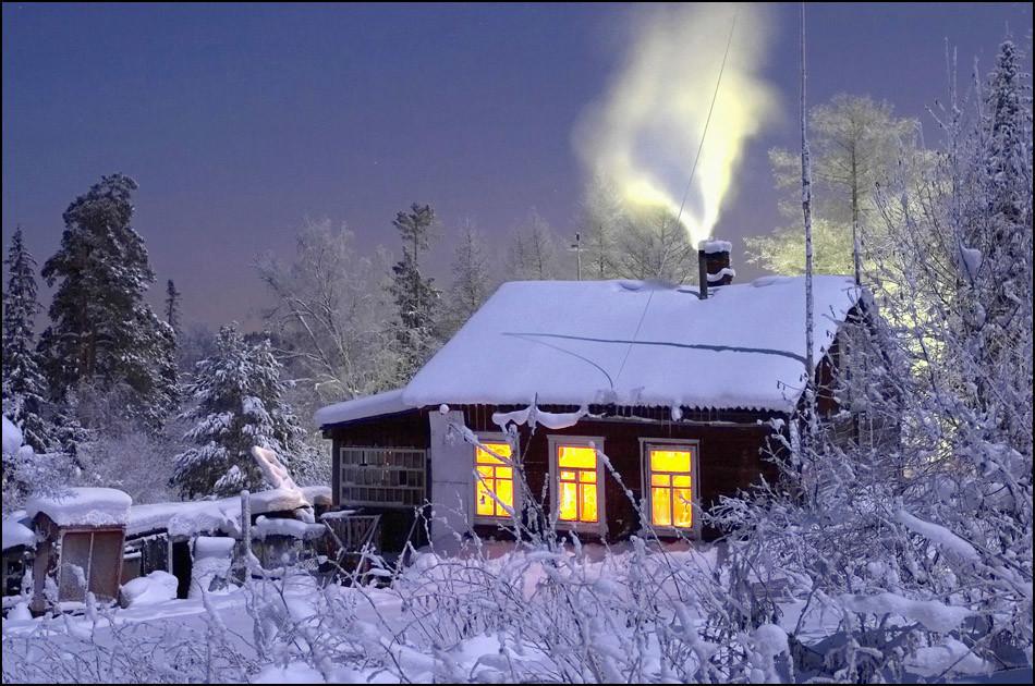 предметы новогодняя картинка с домом с дымом продолжаю